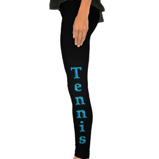 TENNIS Leggings with Cool Turquoise Glassy Letters