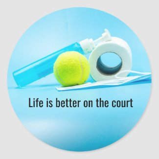 Tennis Life is better on the court Postcard Classic Round Sticker
