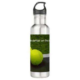 Tennis Life is better on the court tennis ball Stainless Steel Water Bottle