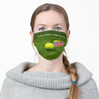 Tennis Life is better on the Court with USA flag Adult Cloth Face Mask