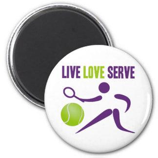 Tennis: Live. Love. Serve. 2 Inch Round Magnet
