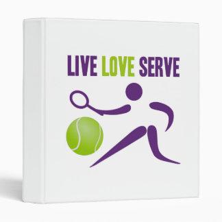 Tennis: Live. Love. Serve. 3 Ring Binder