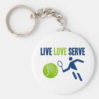 Tennis: Live. Love. Serve Basic Round Button Keychain