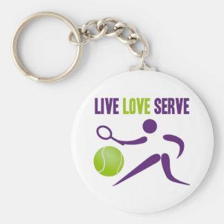 Tennis: Live. Love. Serve. Basic Round Button Keychain