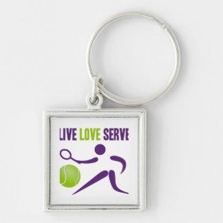 Tennis: Live. Love. Serve. Silver-Colored Square Keychain