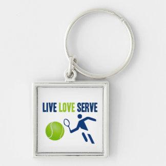 Tennis: Live. Love. Serve Silver-Colored Square Keychain