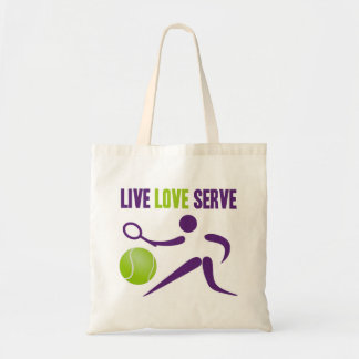 Tennis: Live. Love. Serve. Tote Bag