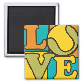 Tennis Love 2 Inch Square Magnet