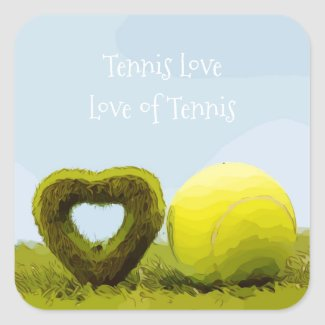 Tennis Love and the Love of Tennis with heart Square Sticker