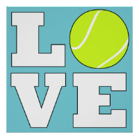 Tennis LOVE Custom Color Square Poster