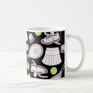 Tennis Love Pattern Pink and Black Coffee Mug