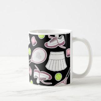 Tennis Love Pattern Pink and Black Coffee Mug