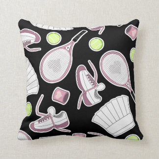 Tennis Love Pattern Pink and Black Throw Pillow