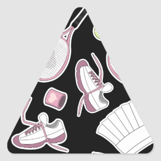 Tennis Love Pattern Pink and Black Triangle Sticker