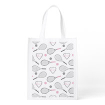 Tennis Love Pattern Reusable Grocery Bag