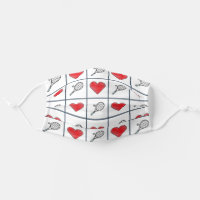 Tennis Love Rackets and Red Hearts Pattern Adult Cloth Face Mask
