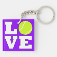 Tennis LOVE Tennis Player or Coach Custom Color Keychain