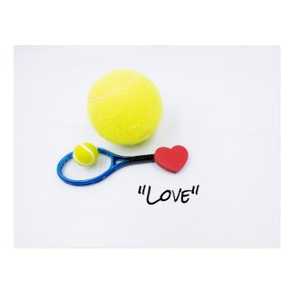 Tennis love with tennis ball and racket lover postcard