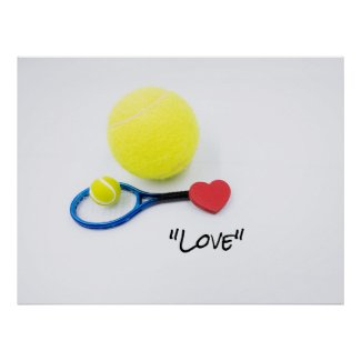Tennis love with tennis ball and racket lover poster