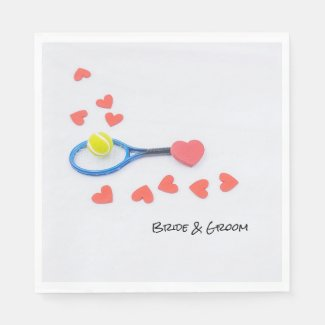 Tennis love with tennis ball and racket wedding napkins