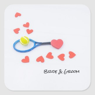 Tennis love with tennis ball and racket wedding square sticker