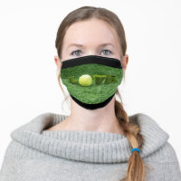 Tennis Love with tennis ball on green grass Cloth Face Mask