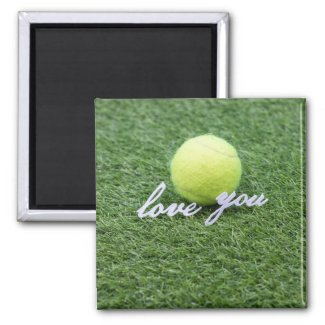Tennis love you with tennis ball on green grass magnet