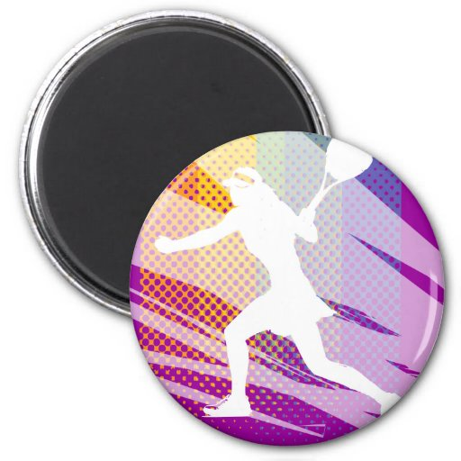 Tennis magnets with female tennis player print