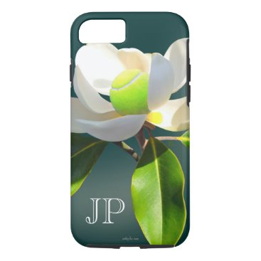 birthday Tennis magnolia flower monogram iPhone 7 case