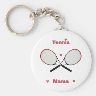 Tennis Mama Hearts Basic Round Button Keychain