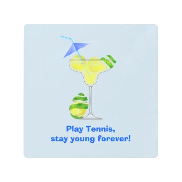 Beach Themed Tennis Margarita Cocktail party Metal Print