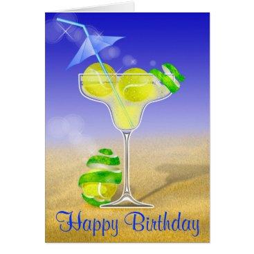 Beach Themed Tennis Margarita Happy Birthday Card