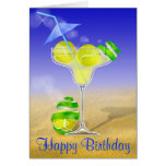 tennis margarita happy Birthday personalized Greeting Card