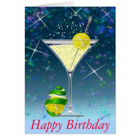 tennis martini happy birthday card