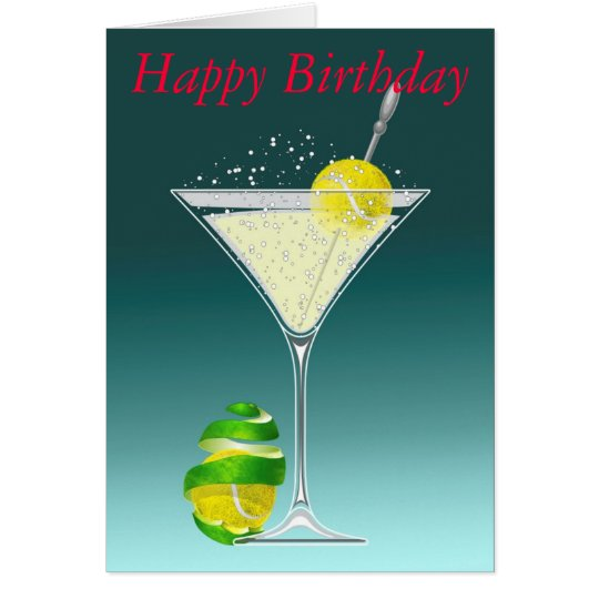 tennis martini Happy Birthday personalized Card | Zazzle