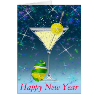 Tennis Martini Happy New Year personalized Card