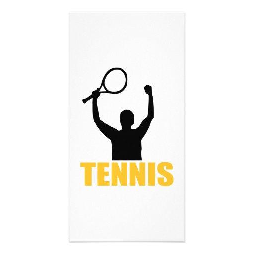 Tennis match champion photo card template