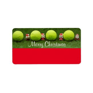 Tennis Merry Christmas with ball and Santa Claus Label