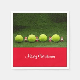 Tennis Merry Christmas with ball and Santa Claus Napkins