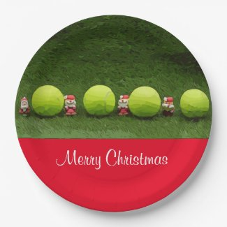 Tennis Merry Christmas with ball and Santa Claus Paper Plate