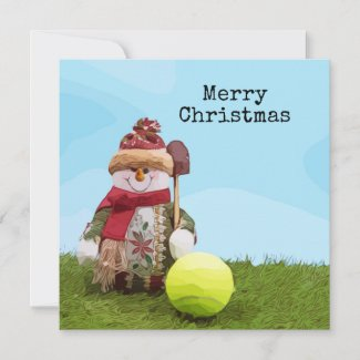 Tennis Merry Christmas with Snowman on green grass Card