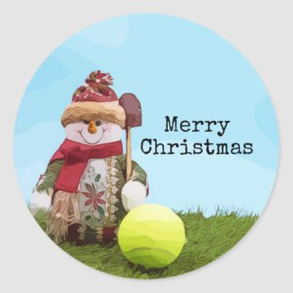 Tennis Merry Christmas with Snowman on green grass Classic Round Sticker