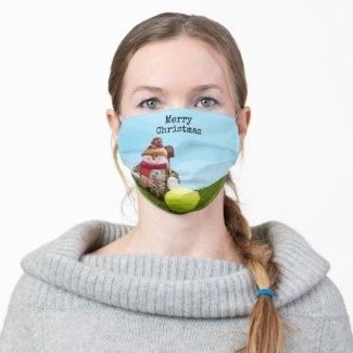 Tennis Merry Christmas with Snowman on green grass Cloth Face Mask
