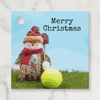 Tennis Merry Christmas with Snowman on green grass Favor Tags