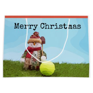 Tennis Merry Christmas with Snowman on green grass Large Gift Bag