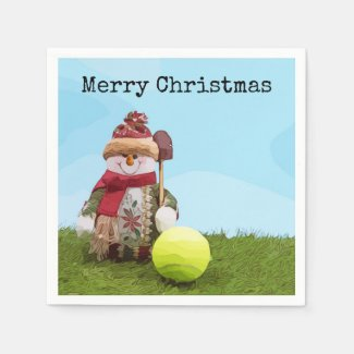 Tennis Merry Christmas with Snowman on green grass Napkins