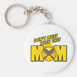 Tennis Mom Basic Round Button Keychain