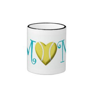 Tennis Mom, Teal Ringer Mug