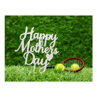 Tennis Mother's Day with tennis ball and racket Postcard