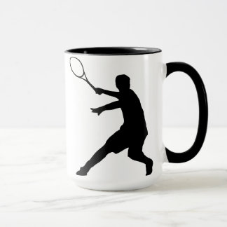 Tennis mug with silhouette of a player